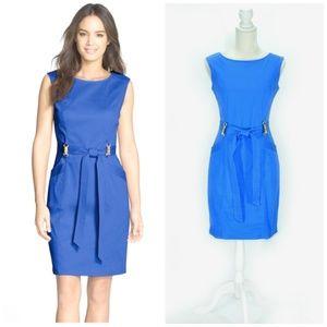 ELLEN TRACY Azure Blue Sleeveless Tie Front Sheath
